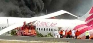 Pesawat Raung Air Terbakar
